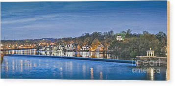 Schuylkill River  Boathouse Row Lit At Night  Wood Print by David Zanzinger
