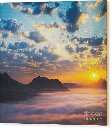 Sea Of Clouds On Sunrise With Ray Lighting Wood Print by Setsiri Silapasuwanchai