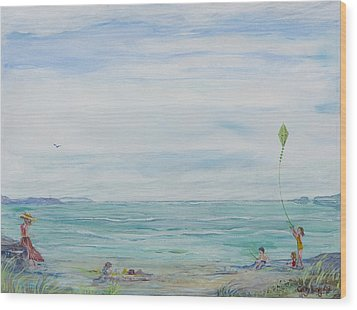 Wood Print featuring the painting Seabreeze Beach by Cathy Long