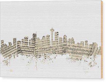 Seattle Washington Skyline Sheet Music Cityscape Wood Print