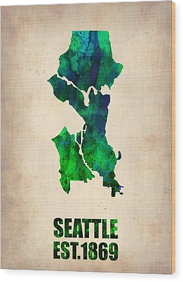 Seattle Watercolor Map Wood Print by Naxart Studio