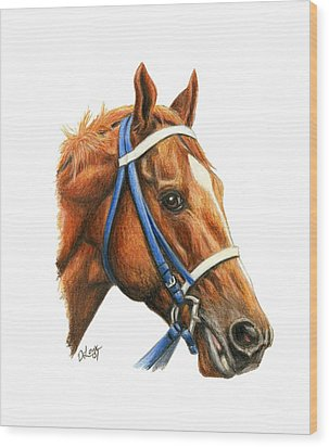Secretariat With Racing Bridle Wood Print