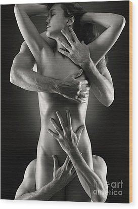 Sensual Photo Of Male Hands Embracing A Woman Wood Print by Oleksiy Maksymenko