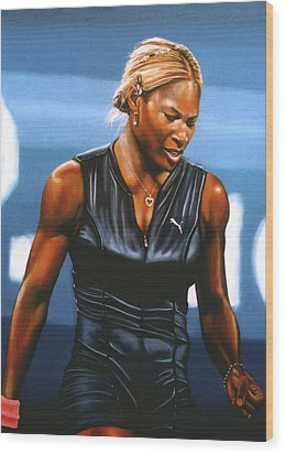 Serena Williams Wood Print by Paul Meijering