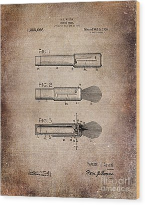Shaving Brush Diagram 1920  Wood Print by Lesa Fine