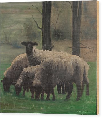 Wood Print featuring the painting Sheep Family by John Reynolds
