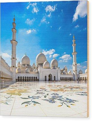 Sheikh Zayed Mosque - Abu Dhabi - Uae Wood Print by Luciano Mortula