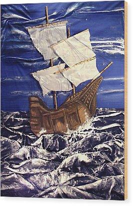 Ship Wood Print by Angela Stout