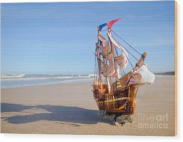 Ship Model On Summer Sunny Beach Wood Print by Michal Bednarek