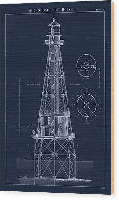 Ship Shoal Lighthouse Drawing Wood Print by Jerry McElroy