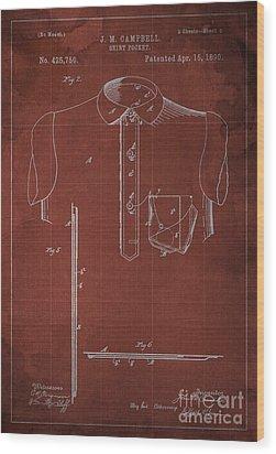 Shirt Pocket Blueprint Patent Wood Print by Pablo Franchi
