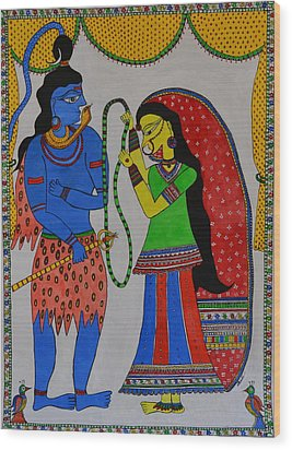 Shiv Parvati Wood Print by Shruti Prasad