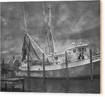 Shrimpin' Boat Captain And Mates Wood Print by Betsy Knapp