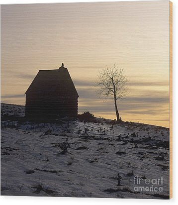 Silhouette Of A Farm And A Tree. Cezallier. Auvergne. France Wood Print by Bernard Jaubert