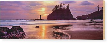 Silhouette Of Sea Stacks At Sunset Wood Print