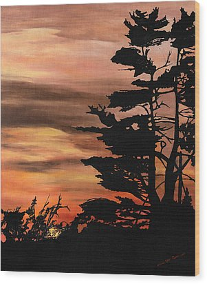 Wood Print featuring the painting Silhouette Sunset by Mary Ellen Anderson