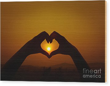 Wood Print featuring the photograph Silhouettes Hand Heart Shaped by Tosporn Preede