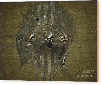 Wood Print featuring the digital art Silver Disc by Alexa Szlavics