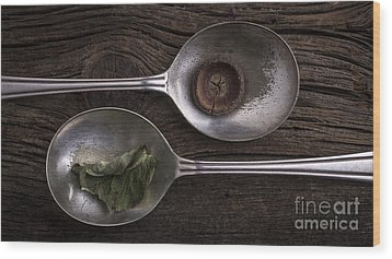 Silver Spoons Wood Print by Edward Fielding