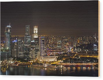 Singapore City Skyline At Night Wood Print by David Gn