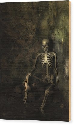 Skeleton Wood Print by Amanda Elwell