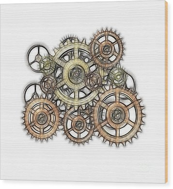 Sketch Of Machinery Wood Print by Michal Boubin