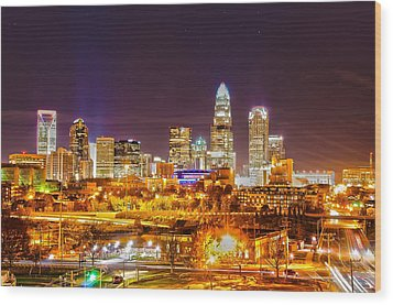 Wood Print featuring the photograph Skyline Of Uptown Charlotte North Carolina At Night by Alex Grichenko