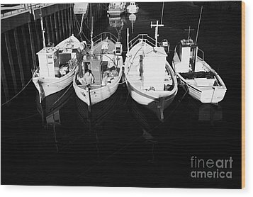 small fishing boats in bunbeg harbour county Donegal Republic of Ireland Wood Print by Joe Fox