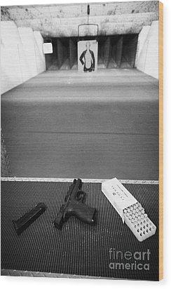 Smith And Wesson 9mm Handgun With Ammunition At A Gun Range In Florida Usa Wood Print by Joe Fox