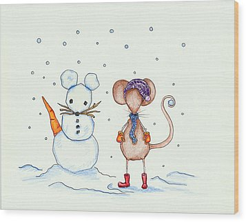 Snow Mouse And Friend Wood Print by Sarah LoCascio