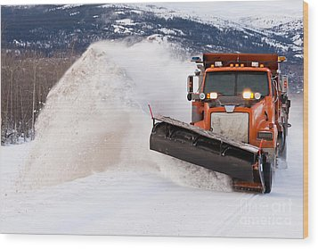 Snow Plough Clearing Road In Winter Storm Blizzard Wood Print by Stephan Pietzko