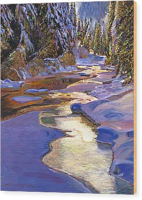 Snowy Creek Wood Print by David Lloyd Glover