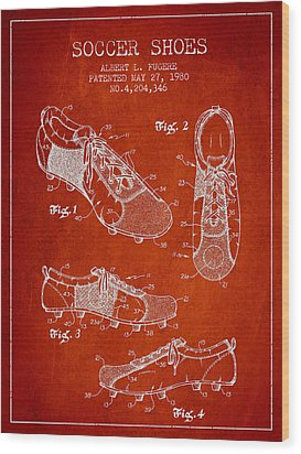 Soccershoe Patent From 1980 Wood Print by Aged Pixel