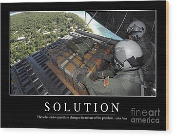 Solution Inspirational Quote Wood Print by Stocktrek Images