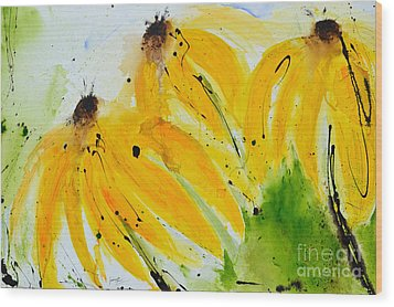 Sonnenhut -  Floral Painting  Wood Print by Ismeta Gruenwald