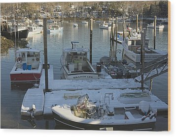 South Bristol And Fishing Boats On The Coast Of Maine Wood Print by Keith Webber Jr