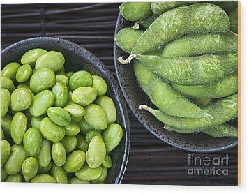 Soy Beans In Bowls Wood Print by Elena Elisseeva