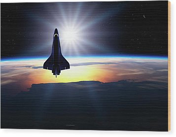 Space Shuttle In Orbit Wood Print