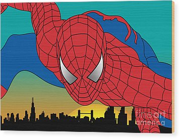 Spiderman  Wood Print by Mark Ashkenazi