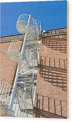 Spiral Staircase Wood Print by Tom Gowanlock