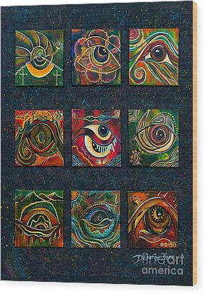 Wood Print featuring the painting Spirit Eye Collection II by Deborha Kerr