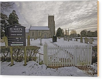 St Mary's Tharston Wood Print by Darren Burroughs