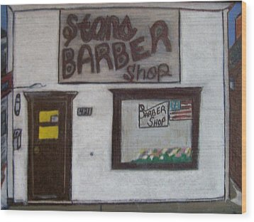 Wood Print featuring the mixed media Stans Barber Shop Menominee by Jonathon Hansen