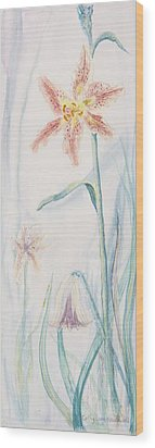 Wood Print featuring the painting Stargazer Lily by Cathy Long
