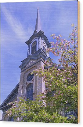 Wood Print featuring the photograph Steeple Church Arch Windows 1 by Becky Lupe