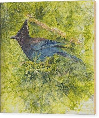 Stellar Jay Wood Print by Ruth Glenn Little
