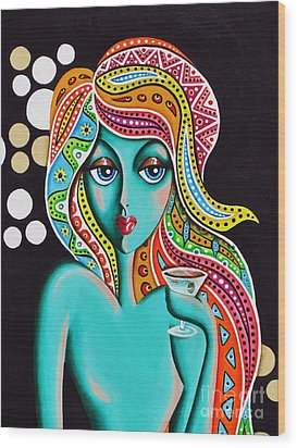 Wood Print featuring the painting Stephanie Groovy Chick Detail by Joseph Sonday