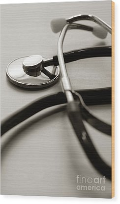 Stethoscope Wood Print by Olivier Le Queinec