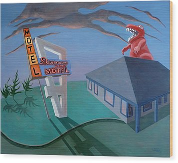 Wood Print featuring the painting Stevenson Motel by Sally Banfill