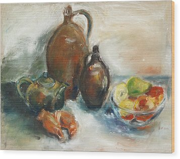 Still Life With Earthen Jugs Wood Print by Barbara Pommerenke